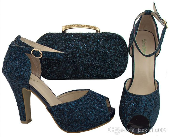 Nice Looking D.blue Women Pumps with Rhinestones African Shoes Match ... fb638da5a95e