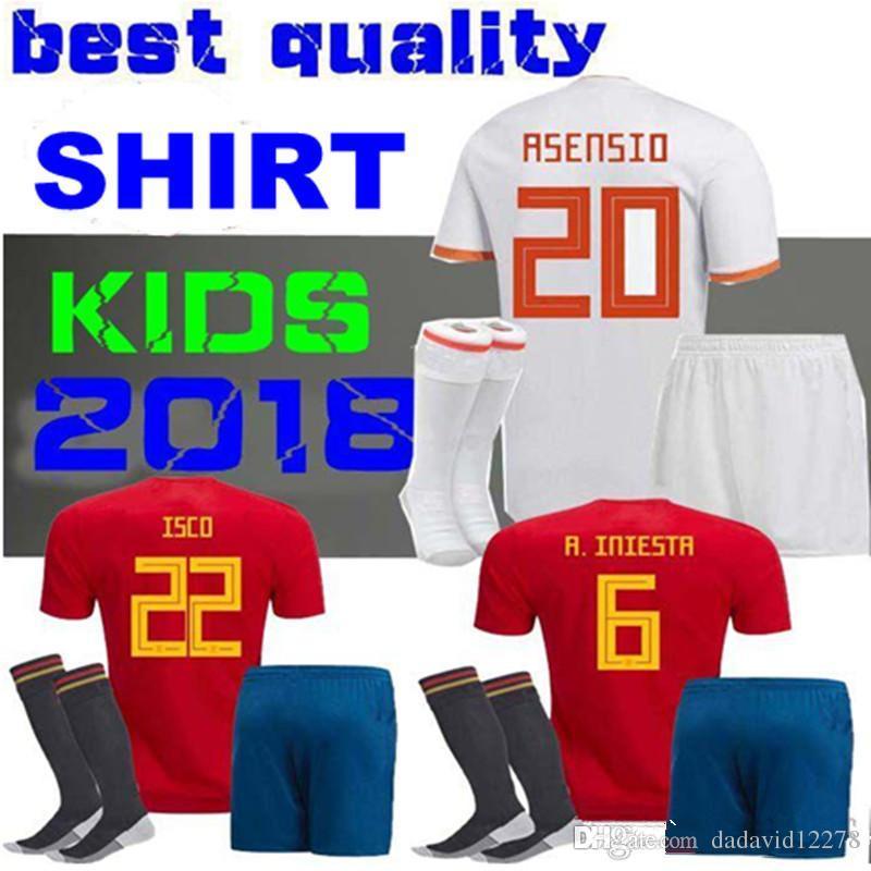cab5cff7c Acquista BAMBINO KIT 2018 Spagna Calcio Jersey PIQUE A.INIESTA MORATA  THIAGO RAMOS ASENSIO Spagna Campionato Mondiale Uniforme Youth Child Maglie  Di Calcio ...