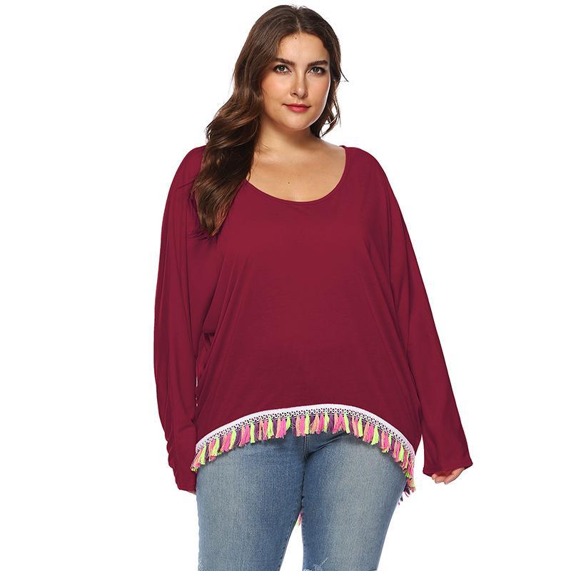 b3cff92c8921d 2018 Casual Women Plus Size T Shirt Solid Color Batwing Long Sleeve Tassels  Fringed Irregular Hem Oversized Loose Tee Shirt Tops T Shirt Logos Trendy T  ...