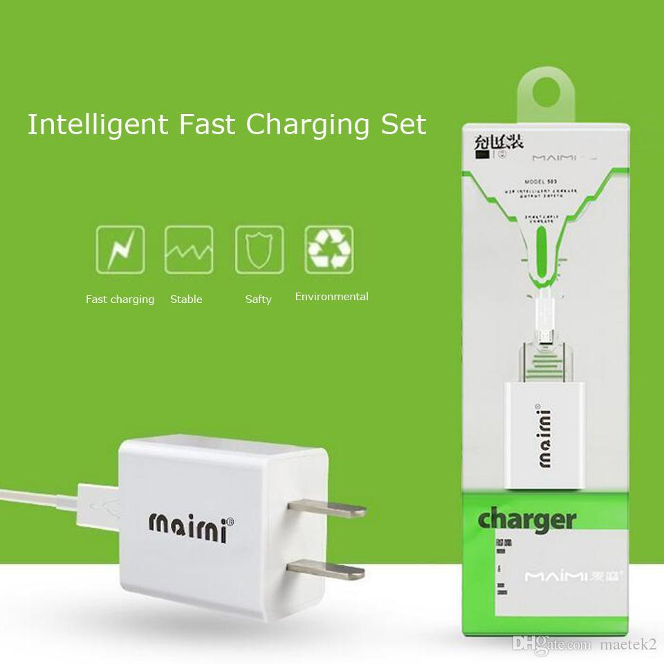 Travel Charger with Micro Type C Cables 1 5A 3ft 1M Data Synic Line Home  Charger for Samsung Huawei LG i7 i8 RetailBox