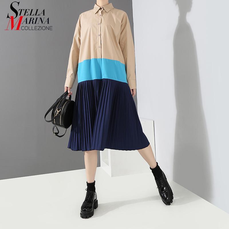 6c9ae3fc9 2018 mujeres del estilo coreano otoño de color caqui negro plisado camisa  vestido de manga larga del remiendo del diseño de la señora Casual Wear ...