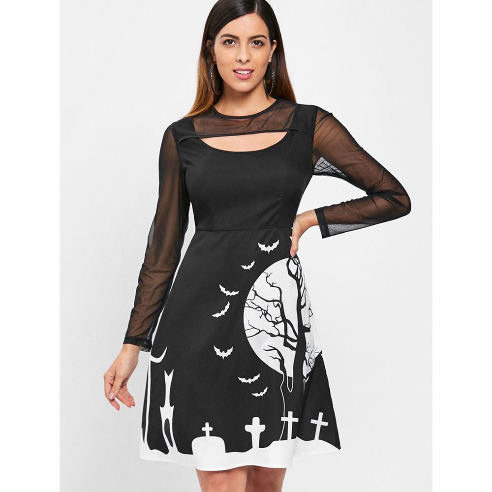Taille Langarm Halloween Kleid Hohe Panel Schwarz Knielangen Midi Kleider Frauen Eine Ausgeschnitten Mesh Dress Linie Gothic Print Kostüm D2HIE9