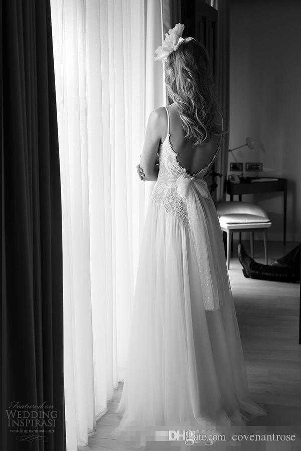 Sexy V Decote Bohemian Vestidos De Noiva Frisado Lace Bodice Praia Vestido De Noiva Tule Uma Linha Saia De Comprimento Total Aberto Para Trás Vestidos de Noiva