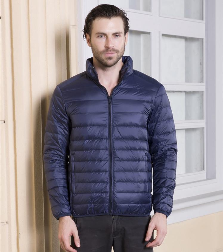 Мужская сверхлегкий Packable вниз пальто стенд воротник тонкий вниз пальто человек белая утка вниз мягкий парки зима фугу куртка JK-641