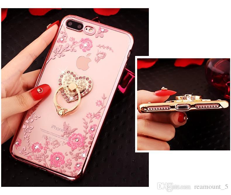 Geheime Garten-rückseitige Abdeckung Fall für iPhone X Luxus-TPU-Überzug-Diamant-weicher Gummifall mit Ring-Standplatz