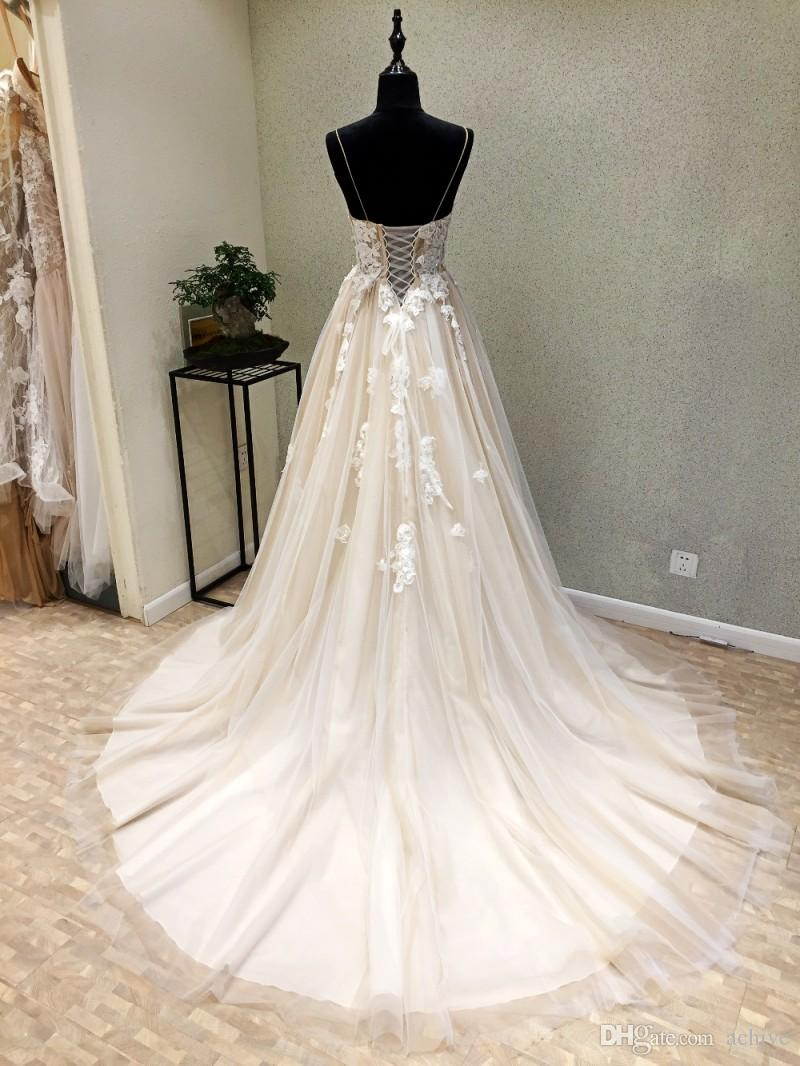 Real Elegant Greek Boho Wedding Dresses 2020 Spaghetti Straps Lace Applique Backless Corset Formal Wedding Gowns Western Country Bridal Gown