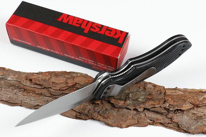 Special Offer Kershaw 1605CKTST Assisted Opening Flipper Knife 8Cr13 White Titanium Coated Blade Black G10 Handle Liner Lock