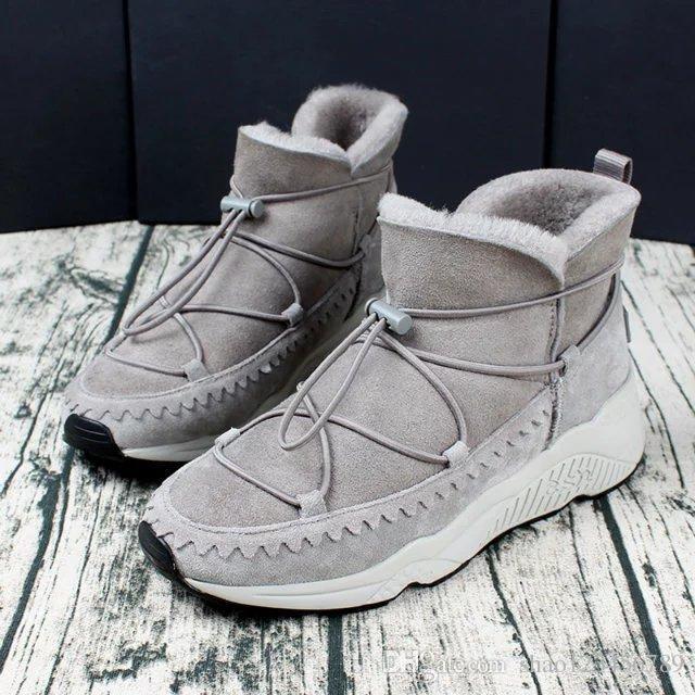 efa3d4edca Compre Moda Inverno Sapatos Moda Feminina Casual Sneakers Botas De Neve De  Pele Natural Curto De Shao123456789