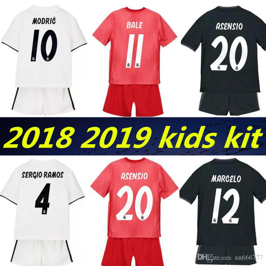 2019 2019 Kids Kits Maillot Real Madrid ASENSIO Benzema Third Soccer Jerseys  Sets 18 19 ISCO BALE Boys Kit Football Jersey From Xn666777 a1706203b