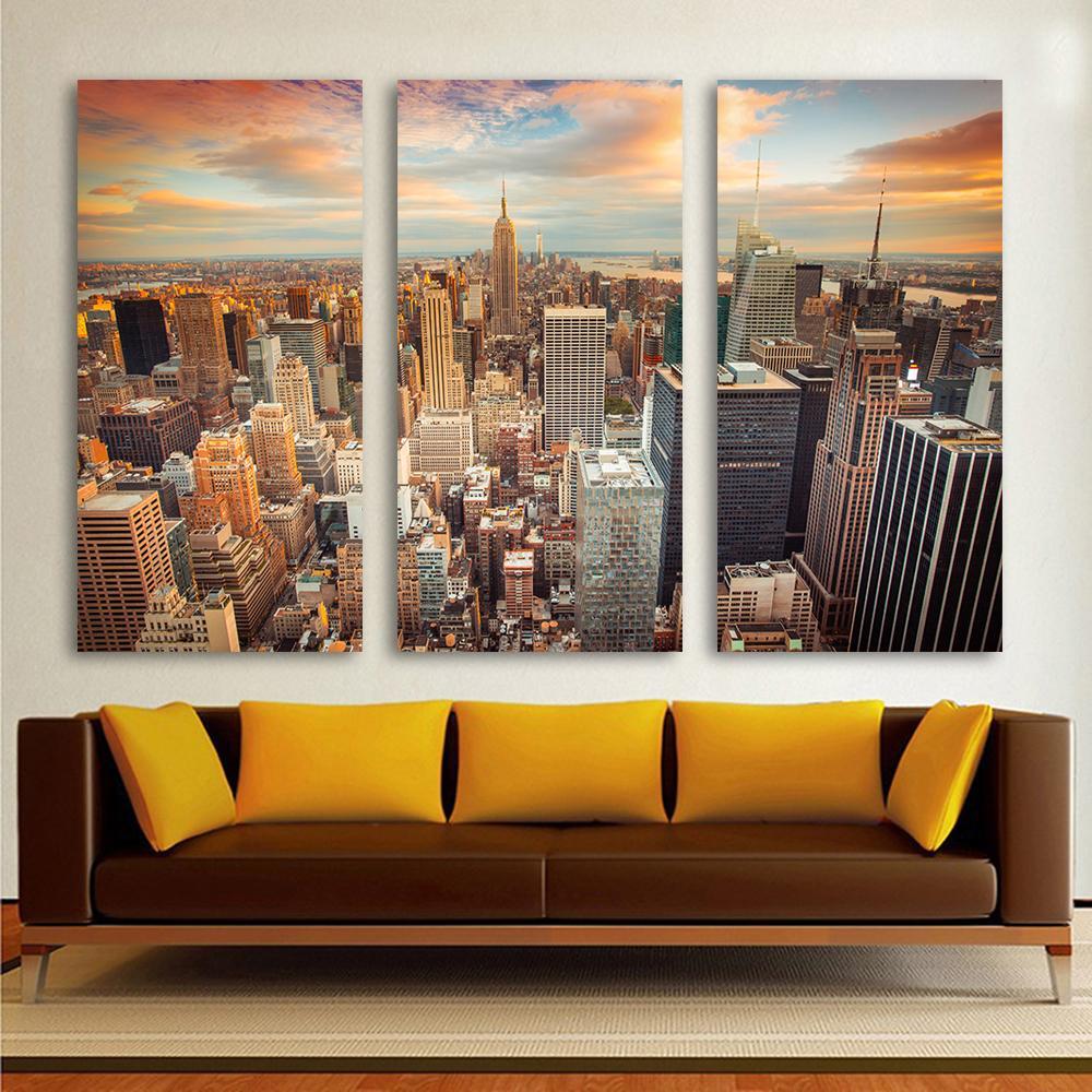Großhandel Leinwand Kunst Überblick Über New York City Landschaftsmalerei 3  Bild Kombination Home Decor Wandbilder Für Wohnzimmer Haif Von Haifoo, ...