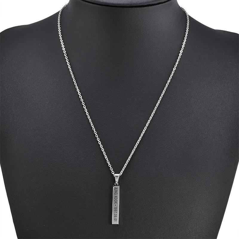 Sıcak BTS Üyeleri Adı Tarih Cuboid Bar Kolye Kolye Moda Takı Hayranları için Gümüş Titanyum Zincir Kolye Kolye