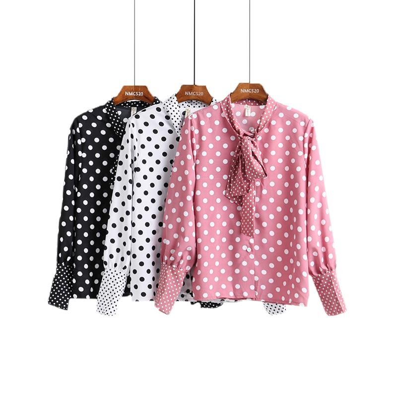 ac1836f4566f9e 2019 Vintage Lace Up Polka Dot Blouse Shirt Women Long Sleeve White Chiffon  Blouse Streetwear Casual Autumn Winter Tops Female Blusas From Longan08