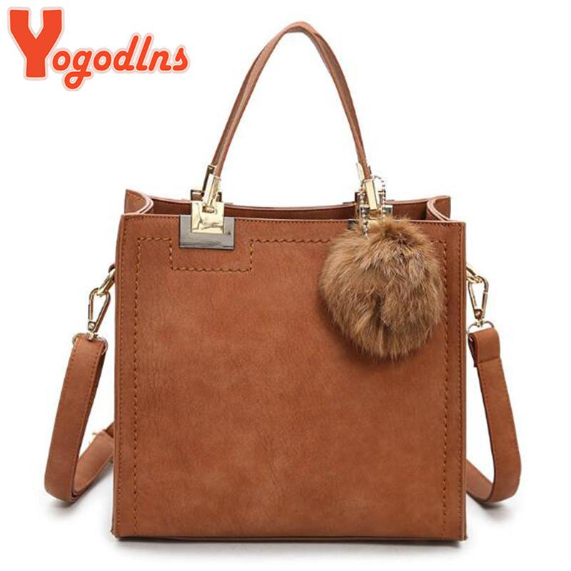4f23229aa481 Yogodlns Hot Sale Handbag Women Casual Tote Bag Female Shoulder Messenger  Bags PU Leather Handbag With Fur Ball Bolsa Weekend Bags Luxury Bags From  Galaxyy