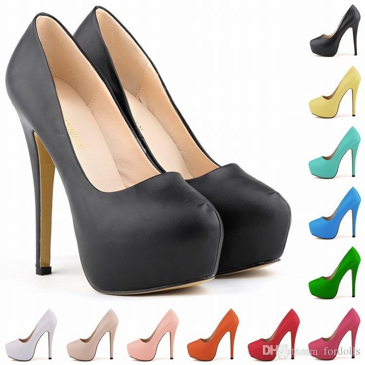 e132f9d2253 Super High Heels Pumps Nightclub Platform Shoes Women Stiletto Party Shoes  Pu 11 Kinds of Color 2018 Super High Heels Pumps Nightclub Platform Shoes  Sexy ...