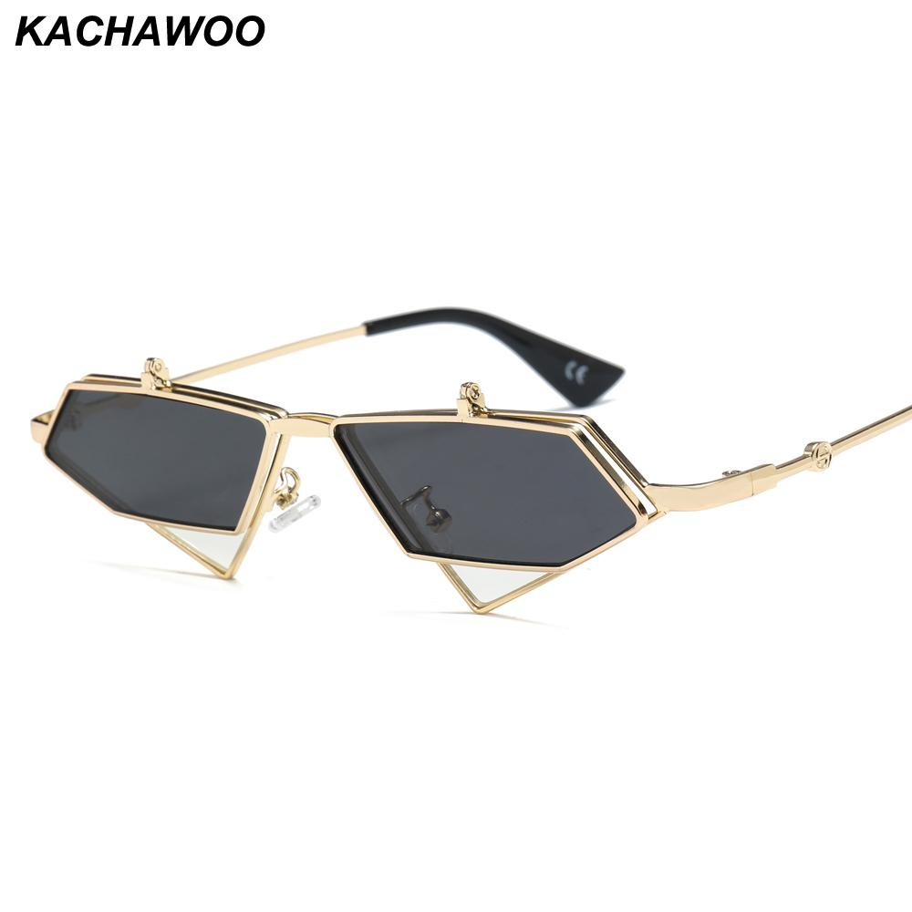 67fc445df4b Kachawoo Flip Up Sunglasses Men Punk Style Red Blue Triangle Metal ...