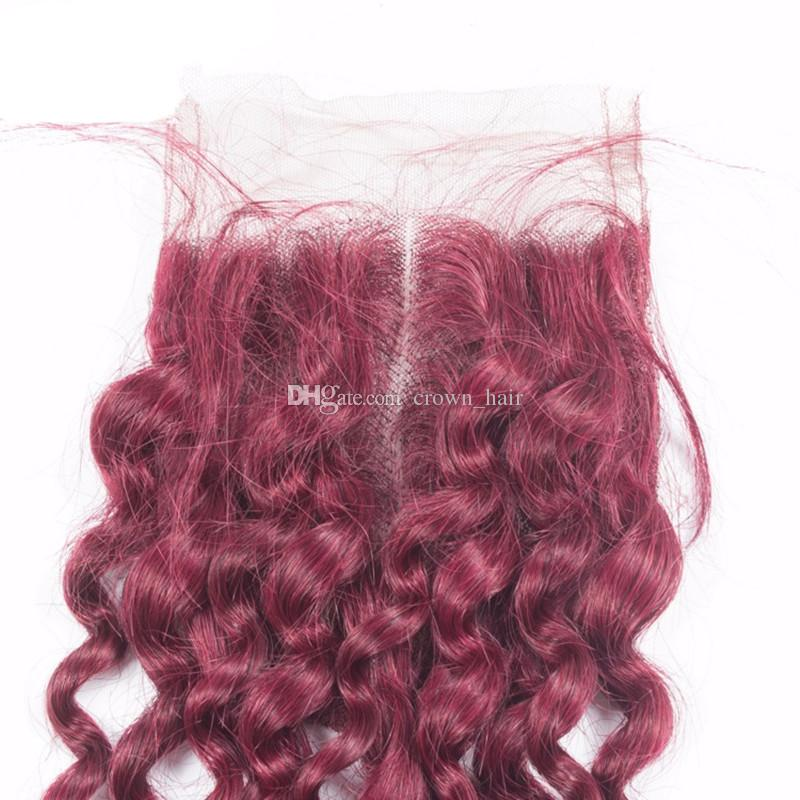 Burgundy Colored Hair 3Bundles With Lace Closure Free Part Unprocessed Virgin Hair #99J Kinky Curly Hair Weaves With Top Closure 4x4