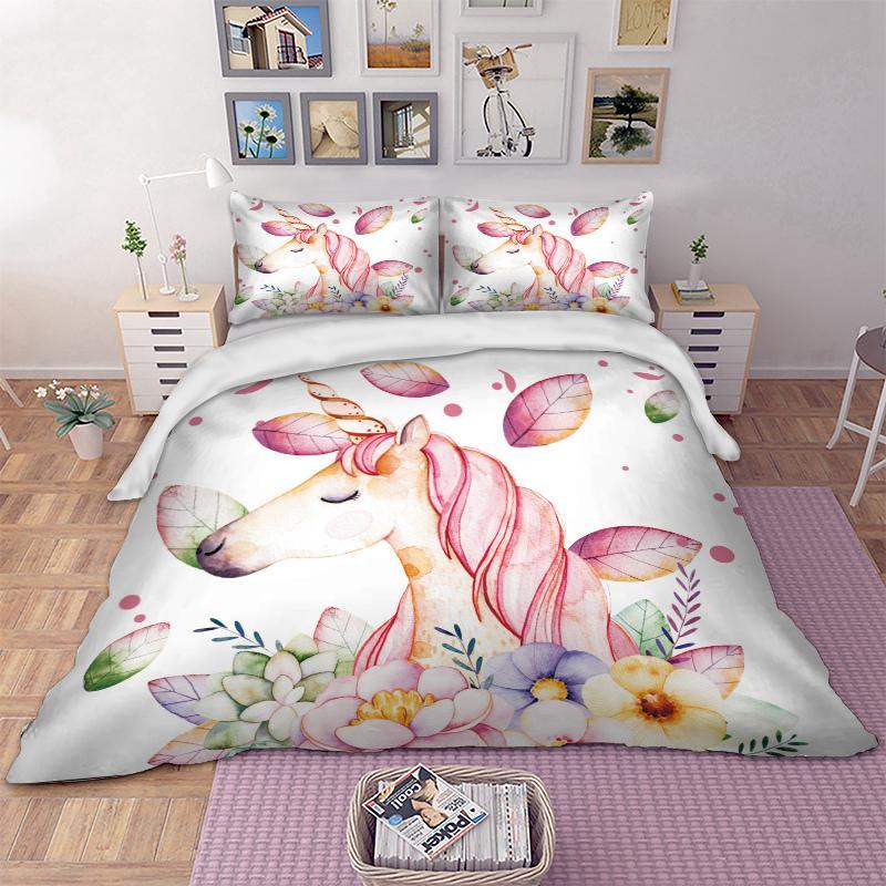 Grosshandel Einhorn Blumen Bettwasche Weiss Bettbezug Bett Set Kinder