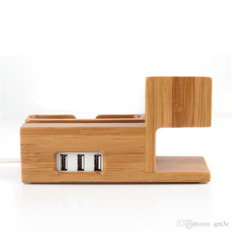 Evrensel 3 USB Ahşap Telefon Şarj Yerleştirme Istasyonu Cep Telefonu Tutucu Smartphone Apple iPhone Için Bambu Braketi Standı Destek ipad Tutucu