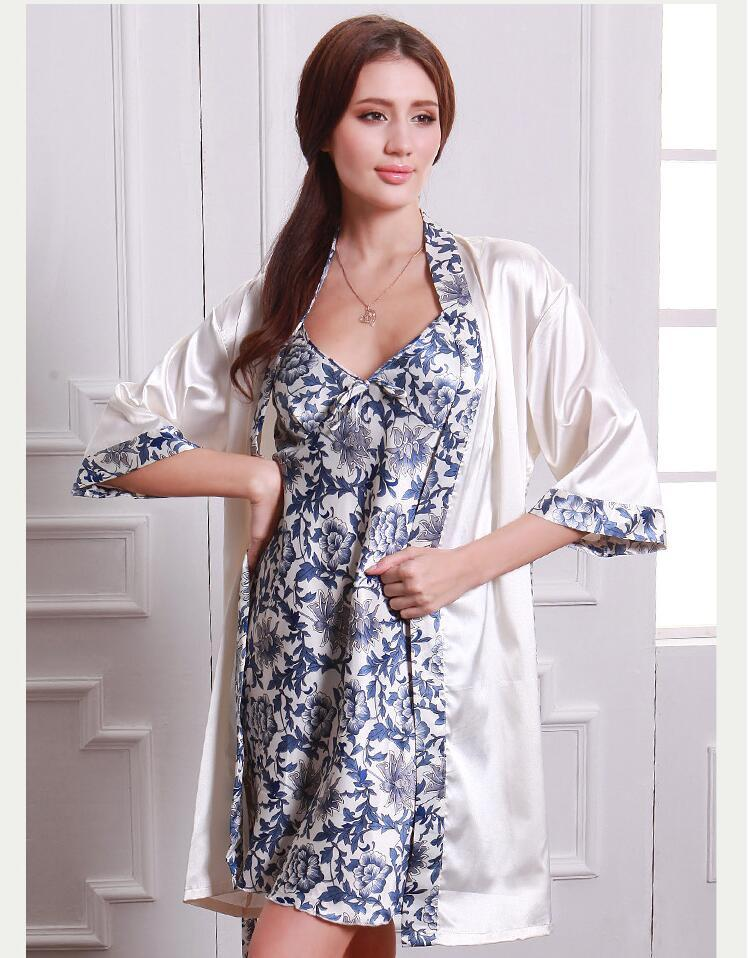 2018 Satin Robes Women Dressing Gown Silk Bridesmaids Robes Set Sexy ...