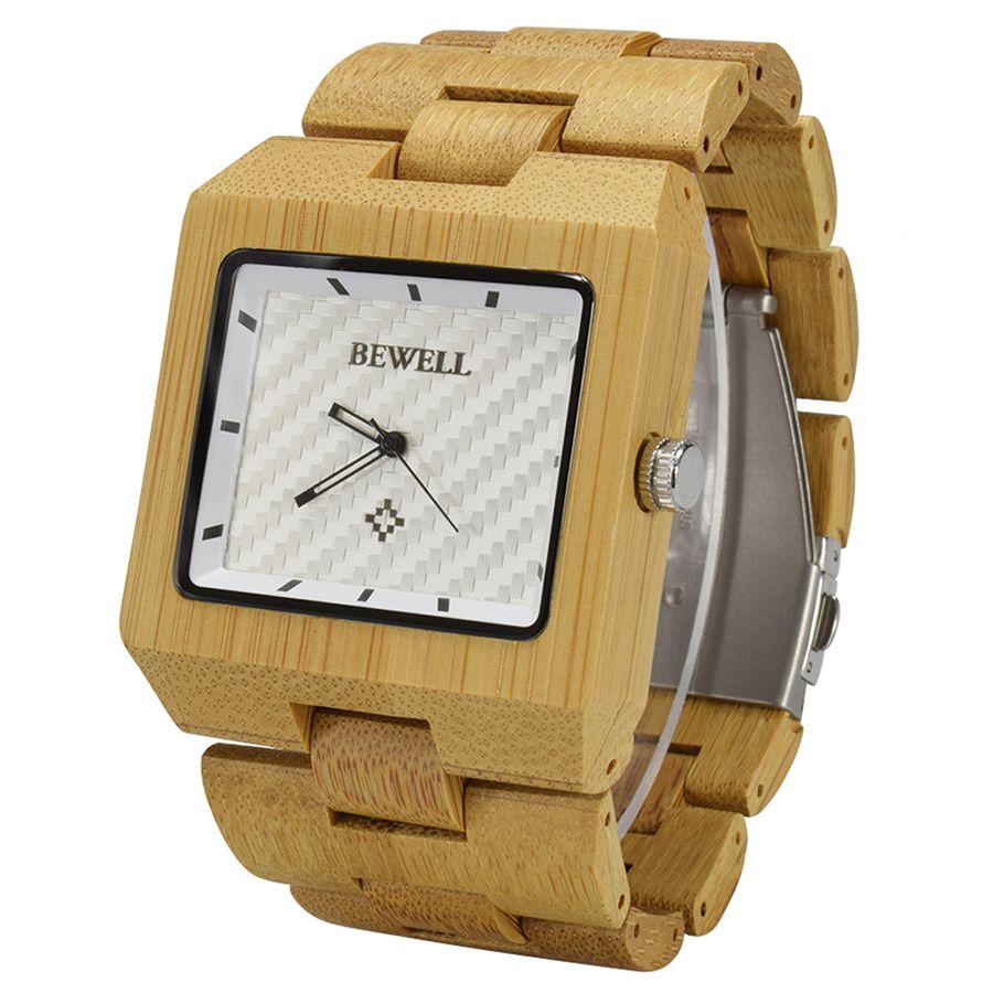 cb5588271950 Compre Reloj De Madera De Cuarzo Analógico Bewell New Men Con Brazalete De  Madera. Muñeca De Madera