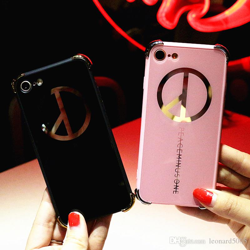 Fashion Personality Bigbang G-Dragon Fans Design Peaceminusone Anti-War Case For iPhone 6 6s 7 Plus Plating Mirror Back Cover