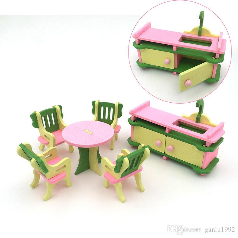 Miniature Wooden Doll House Building Block Toy Personality Suite Originality Kitchen Table Pretend Play And Dress Up Blocks Toys 6td W
