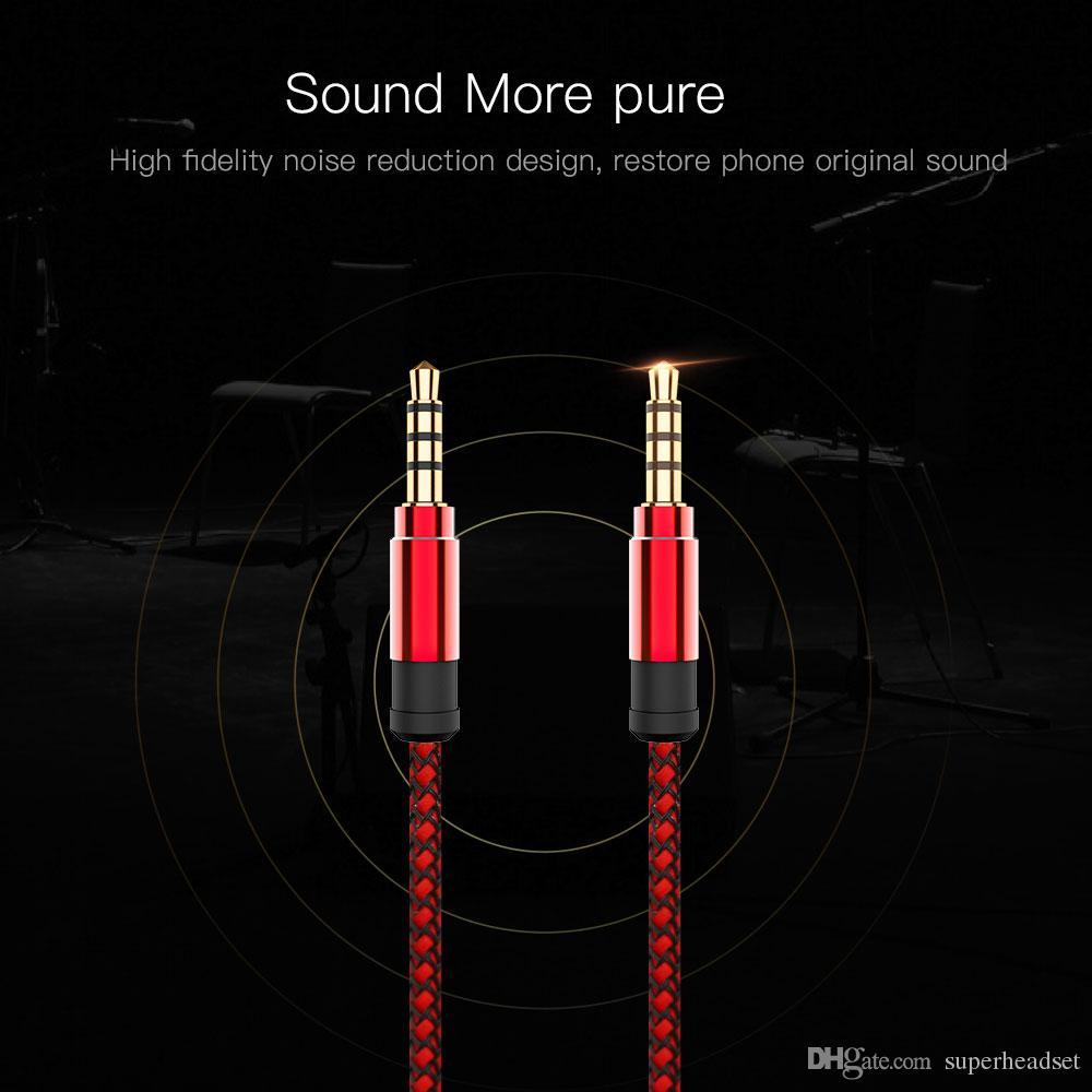 1.5 м Aux кабель 3.5 мм до 3.5 мм нейлон позолоченный штекер между мужчинами аудио кабель для автомобильного телефона MP3 наушники динамик
