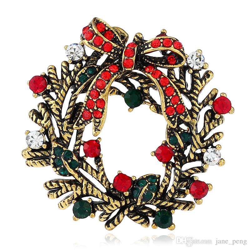 Golden Silver Retro Christmas Wreath Crystal Brooches Pins for ...