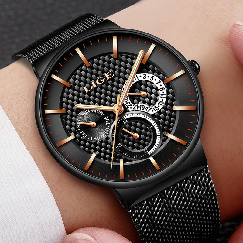 11e15cf554b Compre Reloj Hombre 2018 LIGE Moda Esporte Cronógrafo Mens Relógios Top  Marca De Luxo Relógio De Quartzo Militar Relógio Homem Relogio Masculino De  ...