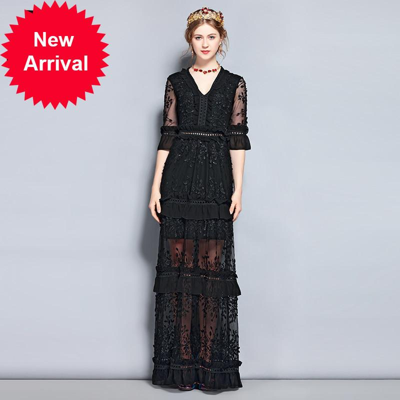 2019 New 2018 Fashion Runway Vintage Black Maxi Dress Womens V Neck