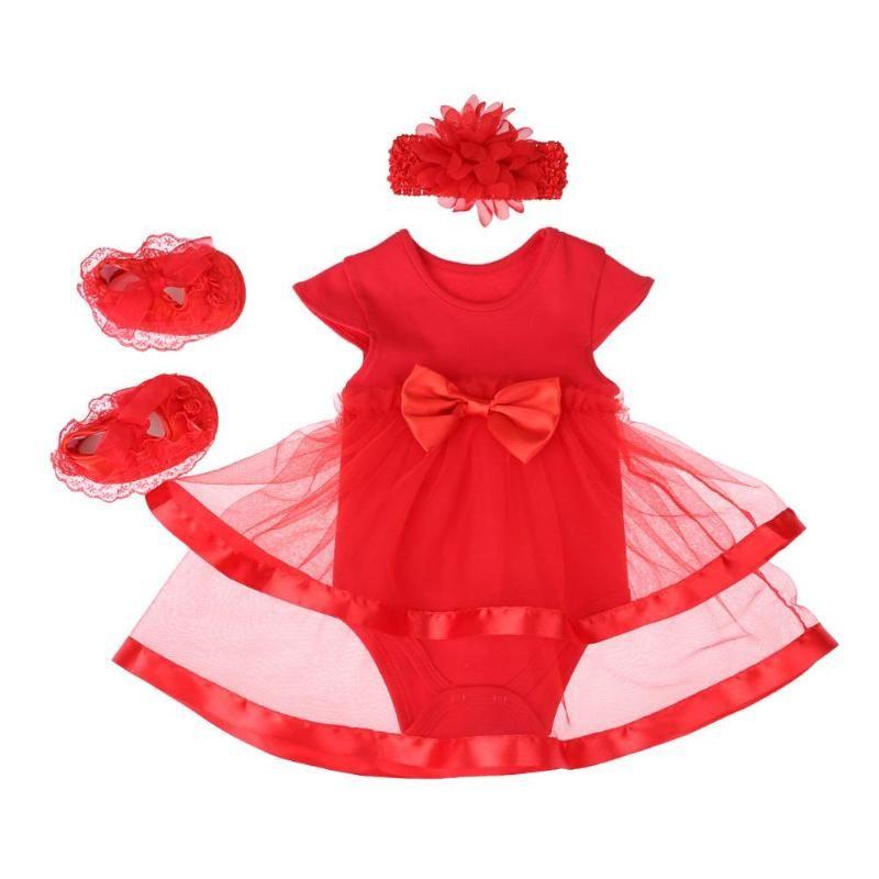 8093ab60e9ac4 Newborn Baby Girls Dress Set Bowknot Gauze Romper Red Dress Shoes Headband  Birthday Outfits Princess Gift Baby Cloth Set