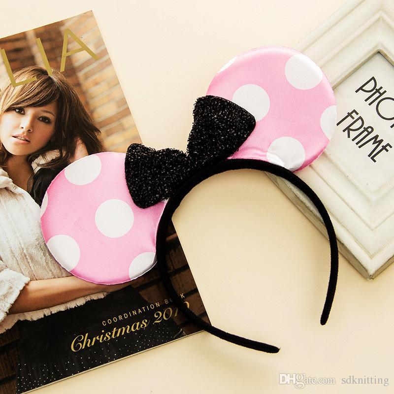 Girls Bows Mouse Ears kids Hair sticks Accessories Party Sticks kid birthday red rose black pink Polka Dot kids Gift hair sticks