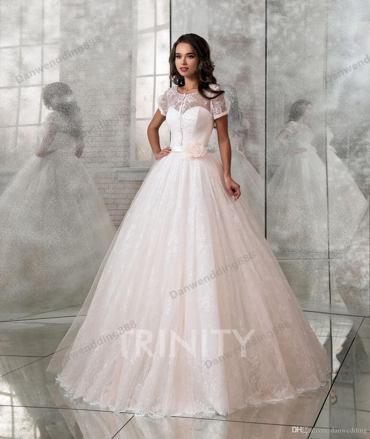 Boda Blanco Desfile Vestidos Nupcial Envoltura Compre Tamaño Una De Encaje Novia Libre Línea Personalizado Rosa Claro OSww7qCx