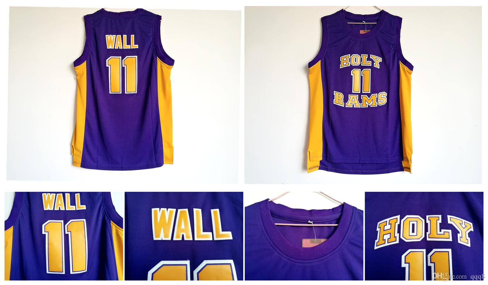 93df6fca8 11 John Wall Jersey Holy Rams High School Jersey College Basketball Jerseys  Purple Stitched Sports Shirt Top Quality