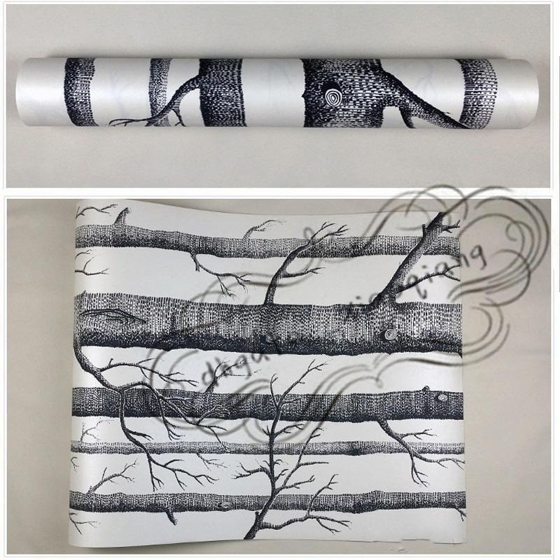 10 м/Лот березовые деревья обои нетканые рулон Современный дизайнер обоев простой обои для гостиной