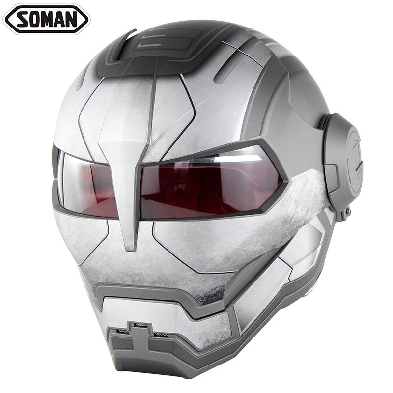 Casco moto Ironman Casco Motocross Flip Up Robot Style Casco Moto Full Face Capacete Soman 515