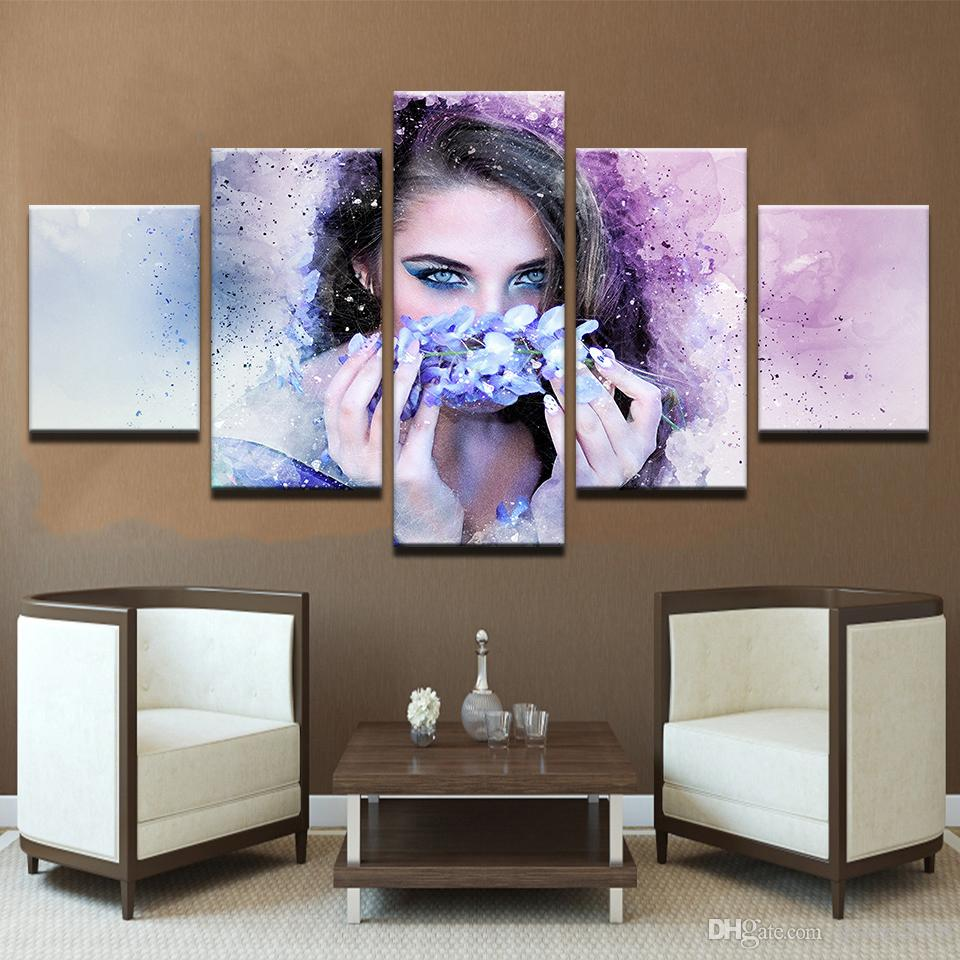 Beautiful Woman With Flower Wreath Watercolor Modular Canvas HD Prints Posters Home Decor Art Oil Wall Pictures
