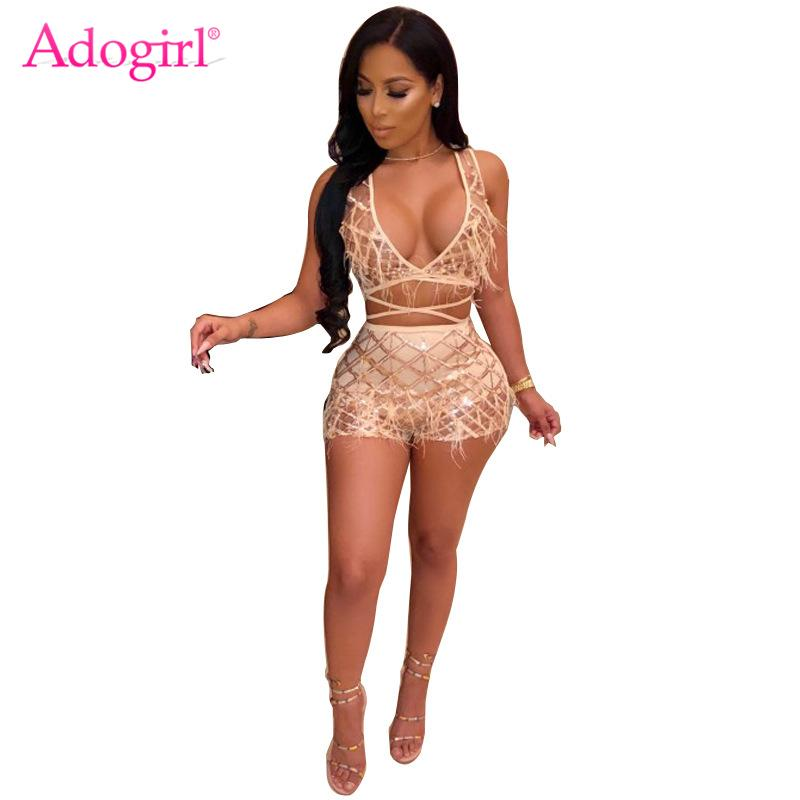 Adogirl Pearls Feather Plaid Sequins Sexy Two Piece Set Women Night Club Costume Deep V Neck Sleeveless Crop Top + Shorts Outfit
