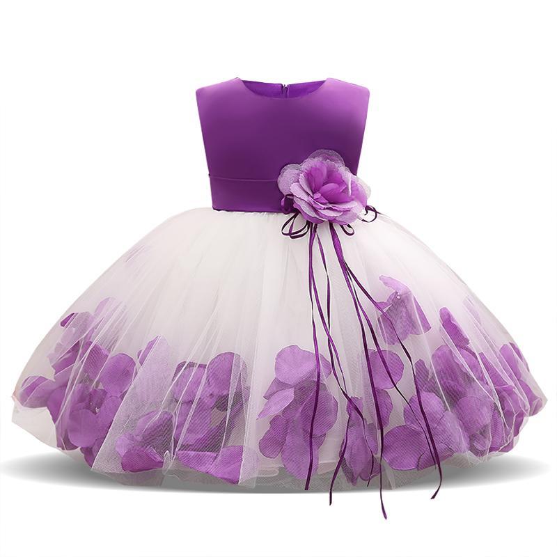 695e92bba 2019 Kids Infant Girl Flower Petals Dress Children Bridesmaid ...