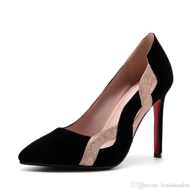 2018 New Arrival Red and Black Cutout Suede Super High Heel Formal Evening Dress Shoes for Women Ladies Stiletto Pumps