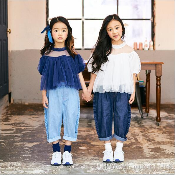 2018 INS summer NEW ARRIVAL boys Girls Kids short Sleeve lace collar see-through blouses kids casual sweet shirt