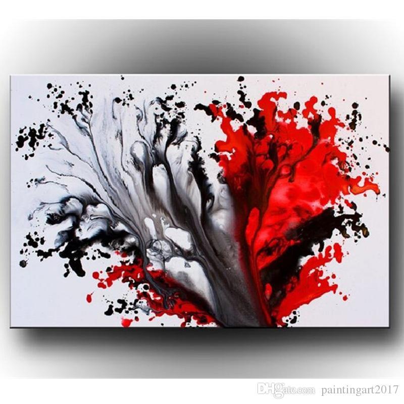 New Graffiti Dipinti Inchiostrato Rosso Nero Tela Dipinto a mano Astratta Pittura a olio Moderna Home Decoration Wall Art Immagine