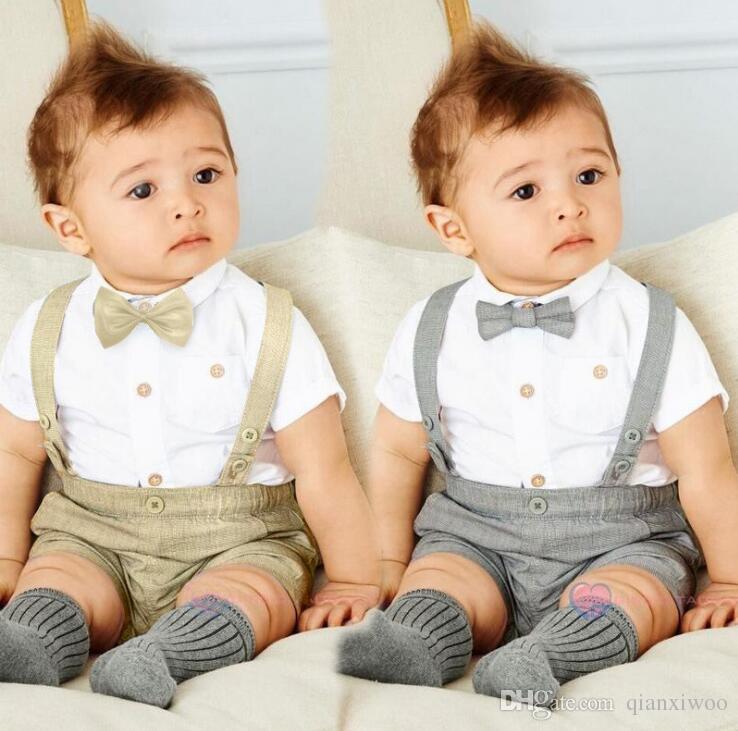 bbe7391d3cdfd New Summer Baby Boys Clothes Set Kids Bow Tie Short Sleeve Shirt Suspender  Sorts 2pcs Children Boy Outfits Set W156