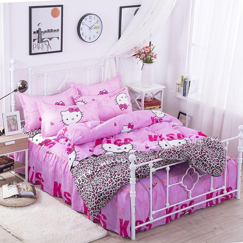 Copriletto Trapuntato Hello Kitty.Hello Kitty 4 Pc Bed Gonne Set Biancheria Da Letto Copriletti Copriletto Copripiumino Camicie Set Federe