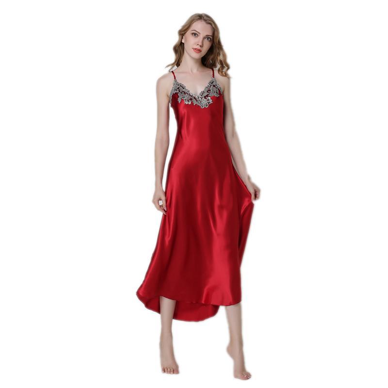 4adafa6d6ba9 Sexy lange Nachthemd weiblich Satin Hause Kleidung Seide Nachtwäsche Spitze  Porn Nacht Kleid Frauen ärmellose Nachthemden große Größe rot