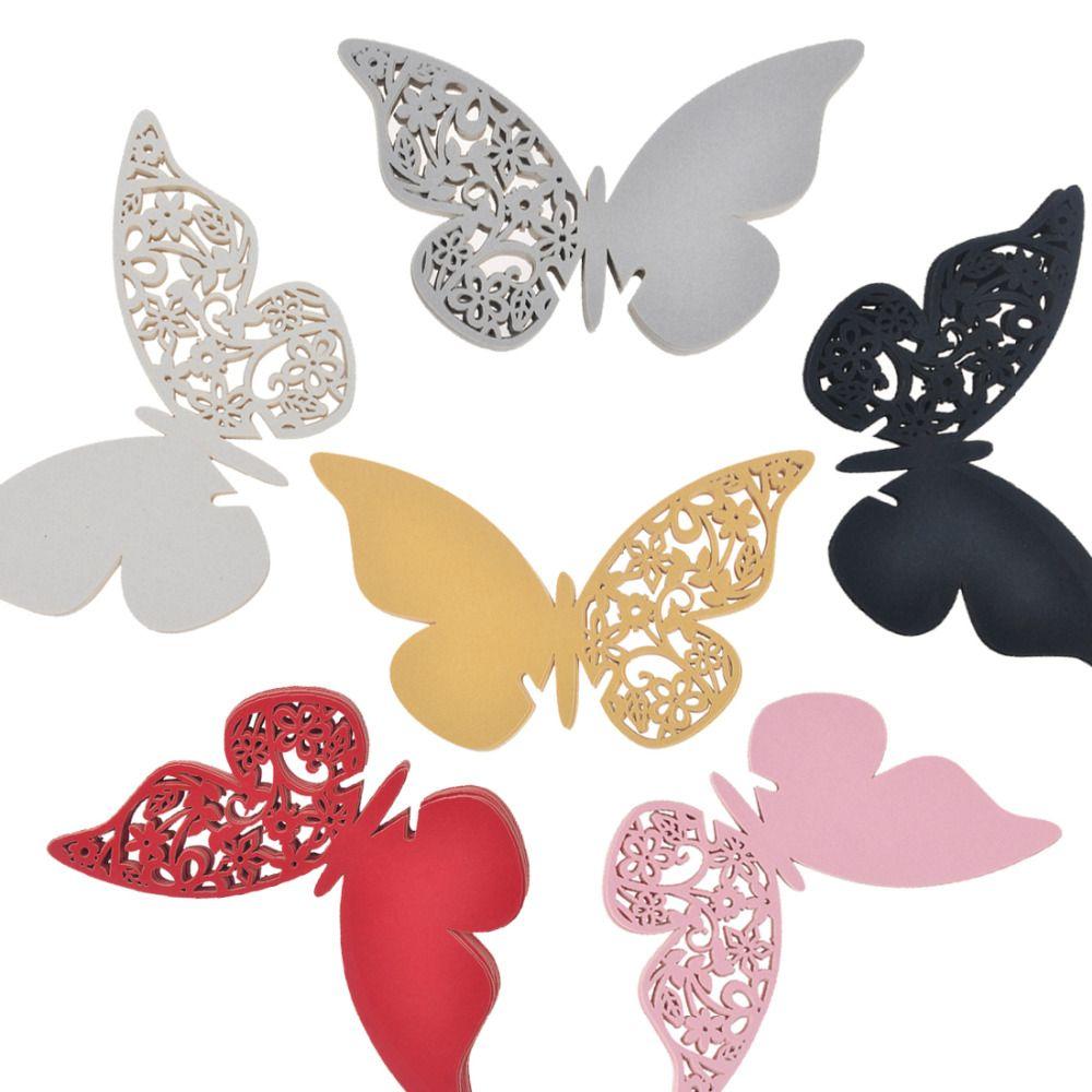 Acheter Papillon Lieu Escorte Vin Verre Tasse Carte De Papier Pour La Fte Mariage Dcorations Maison Blanc Argent Or Rouge Noir Cartes Visite