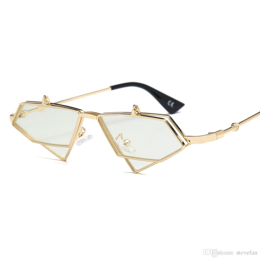 f75b37bd010 Triangle Glasses Decoration for Women Vintage 2019 Flip Up ...