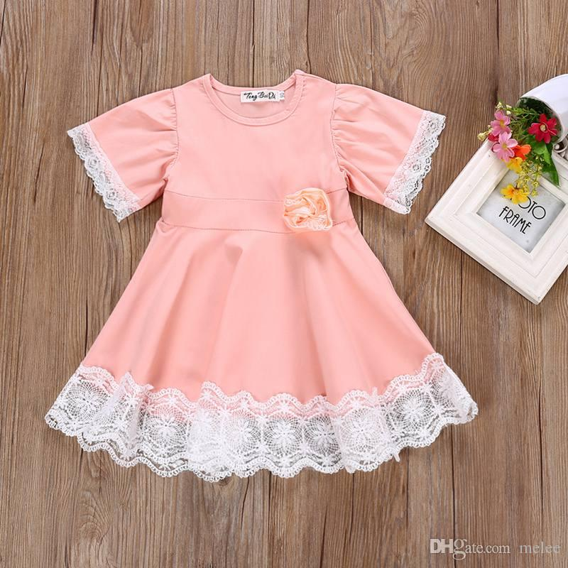 INS Girls Flower Lace Dresses for Baby Girl Children Dresses Pretty Fashion Lace Princess Dress Cotton Blend Short Sleeve Dress Sweet Pink