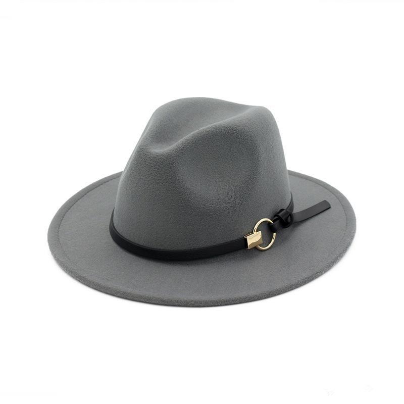 New Fashion Top Hats Uomo Donna Elegante Fashion Solid Feltro Fedora Cappello Band Wide Flat Brim Jazz Cappelli Elegante Trilby Panama Caps