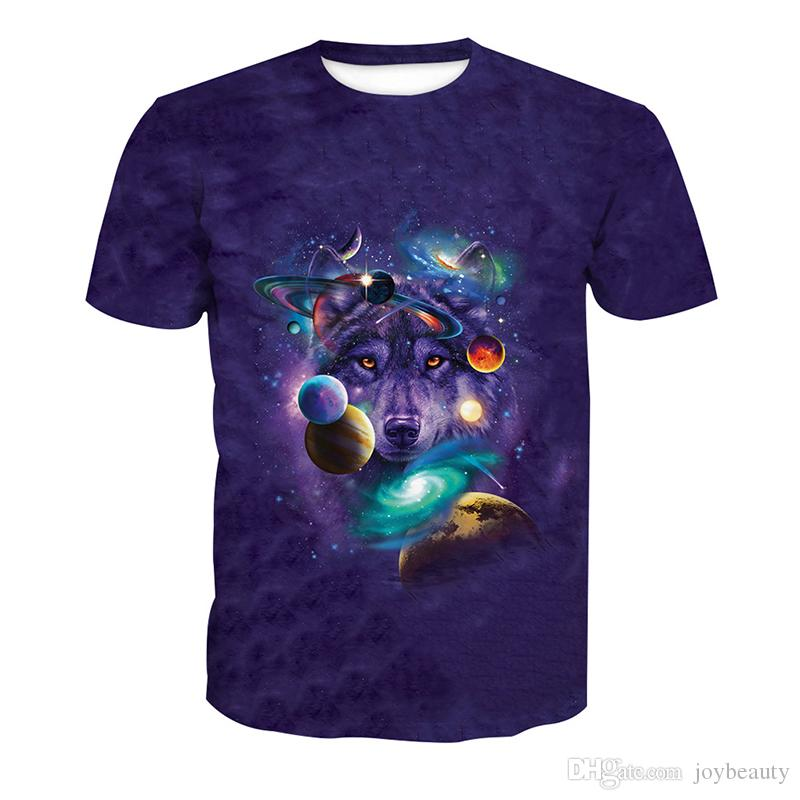 Camiseta de hombre Wolf Wolf Head Galaxy Star 3D Full Print Hombre Tops casual Camiseta de manga corta unisex Digital Graphic Tee Shirt Camisetas (RLT-4112)